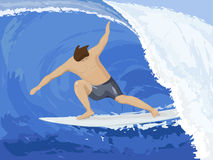 Surfer. Ride on wave in sea stock illustration