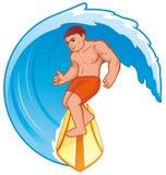 Surfer. Vector illustration Surfer on wave royalty free illustration
