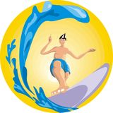 Surfer. Young boy surfing with yelow background Stock Image