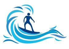 Surfer. Illustration of surfer design isolated on white background stock illustration