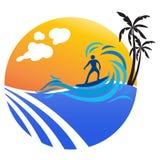 Surfer. Illustration of surfer design isolated on white background royalty free illustration