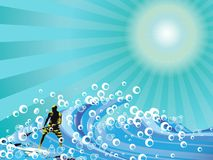 Surfer. Vector illustration of surfing on waves Royalty Free Stock Photos