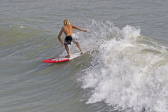 Surfer. In wave stock photo