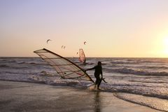 Surfer. Active sport on north sea stock images