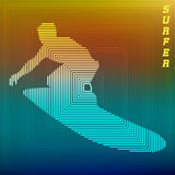 Surfer. Abstract silhouette of a surfer at sunset. Vector illustration Stock Images