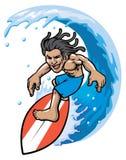 Surfer in actie royalty-vrije illustratie