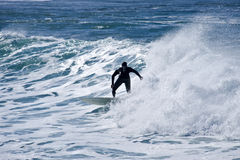 Surfer in action. Riding a wave with perfect balance Royalty Free Stock Image