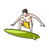 Surfer in action icon in cartoon style isolated on white background. Surfing symbol stock vector illustration. Stock Images
