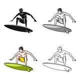 Surfer in action icon in cartoon style isolated on white background. Surfing symbol stock vector illustration. Royalty Free Stock Photography