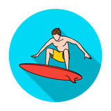 Surfer in action icon in flat style isolated on white background. Surfing symbol stock vector illustration. Stock Photo