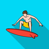 Surfer in action icon in flate style isolated on white background. Surfing symbol stock vector illustration. Royalty Free Stock Photos