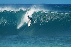 Surfer Adam Melling Surfing at Pipeline in Hawaii Stock Images