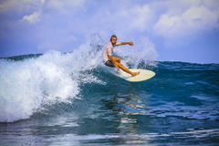 Surfer on Amazing Blue Wave Royalty Free Stock Photo