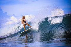 Surfer on Amazing Blue Wave Stock Photography