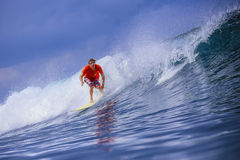 Surfer on Amazing Blue Wave Stock Images