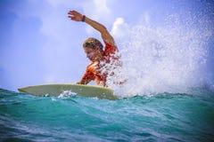 Surfer on Amazing Blue Wave Stock Images