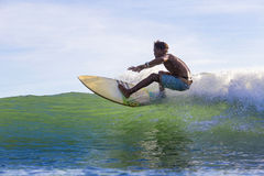 Surfer on Amazing Blue Wave royalty free stock images