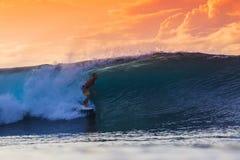 Surfer on Amazing Wave Royalty Free Stock Photo