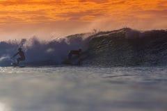 Surfer on Amazing Wave Stock Image