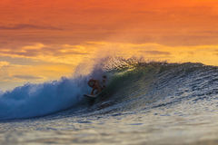 Surfer on Amazing Wave Stock Images