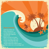 Surfer And Sea Big Wave Tropical Island On Old Paper Royalty Free Stock Photo