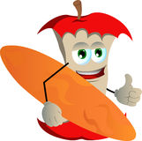 Surfer apple core with thumb up Royalty Free Stock Image