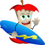 Surfer apple core Royalty Free Stock Images
