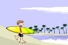 Surfer arrives at the beach with his surfboard Stock Photos