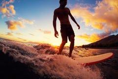 Surfer au coucher du soleil Photo stock