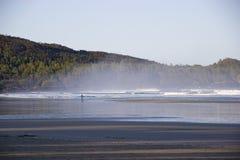 Surfer auf nebelhafter Cox-Bucht, Tofino, Britisch-Columbia, Kanada Stockfoto