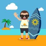 Surfer avec la planche de surf sur la conception plate de vacances d'été Photo libre de droits