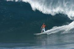 Surfer at Backdoor Pipeline. Backdoor Pipeline Stock Photo