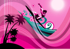 Surfer background. Surfer in the beach.Retro style background for your sport event promotion Royalty Free Stock Image