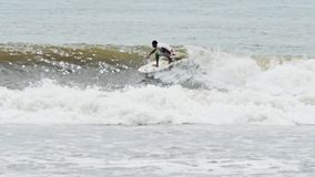 Surfer Bali Indonesia Surfing Slowmotion stock video footage