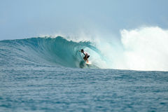 Surfer in barrel getting tube view, Indonesia Stock Images