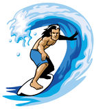 Surfer on the barrel Stock Photos