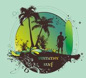 Surfer on the beach. Summer  illustration describing a surfer on the beach Royalty Free Stock Images