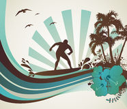 Surfer on the beach. Vector illustration Stock Photography
