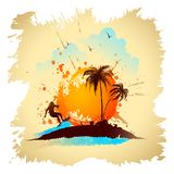 Surfer on Beach. Illustration of surfer on wave on sea beach with palm tree Stock Image