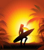 Surfer on the beach. Girl surfer on the sunset beach royalty free illustration