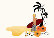 Surfer on the beach. An illustration of a male surfer, holding his surfboard and staning on the beach stock illustration
