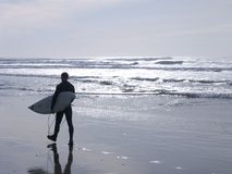 Surfer on beach Stock Photography