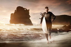 Surfer. On the beach in australia royalty free stock photography