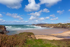 Surfer beach near Newquay Treyarnon Bay Cornwall England UK Cornish north coast Stock Photos