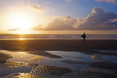 Surfer  at the beach at sunset Stock Images