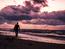 Surfer at the Beach. Surfer Walks along the Beach at the Sunset Royalty Free Stock Images