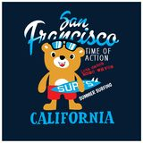 Cool Surfer bear vector illustration. T-shirt graphic vector illustration