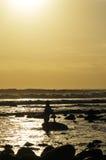Surfer bei Sonnenuntergang Stockbilder