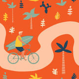 Surfer bicycle rider with surfboard on the beach seamless pattern. Funny cartoon character young man riding a bike. Royalty Free Stock Photos