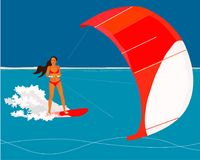 Surfer and kite background Royalty Free Illustration
